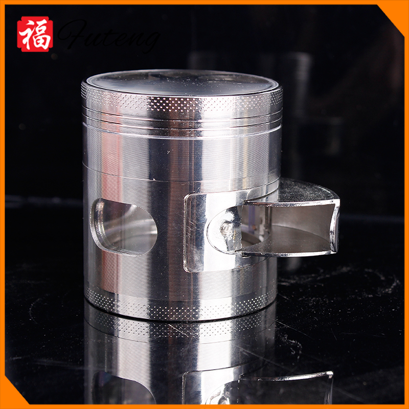 Wholesale 4 Parts Diamond Teeth 63mm Fan on Top Mid Window Open Zinc Alloy Herb Grinder