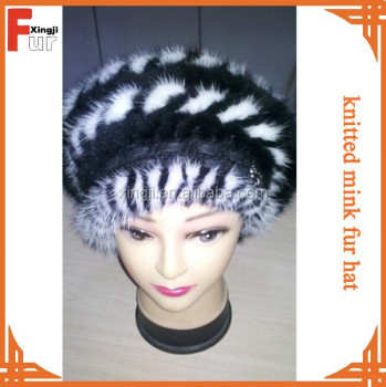 top quality knitted dyed mink tail animal fur hat