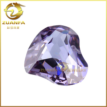 factory direct sell aaa double faceted cut fancy heart lavender cubic zirconia
