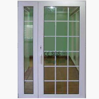 New Side Light Style UPVC Profile Tempered Glass Grid Casement Door