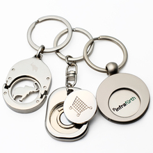 Shopping Trolley Pound Coin Token Key Ring, Supermarket Locker Coin Trolley Token Keyrings