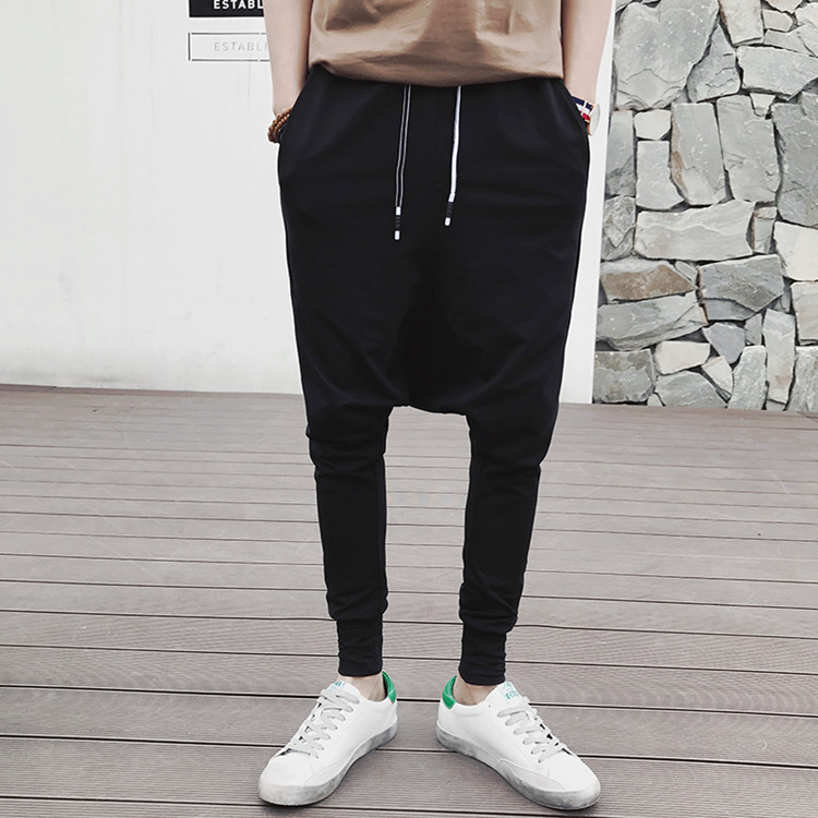 Hot Sale Mens Cotton Black Drop Crotch Harem Pants Wholesale Casual Plain Hip Hop Pants