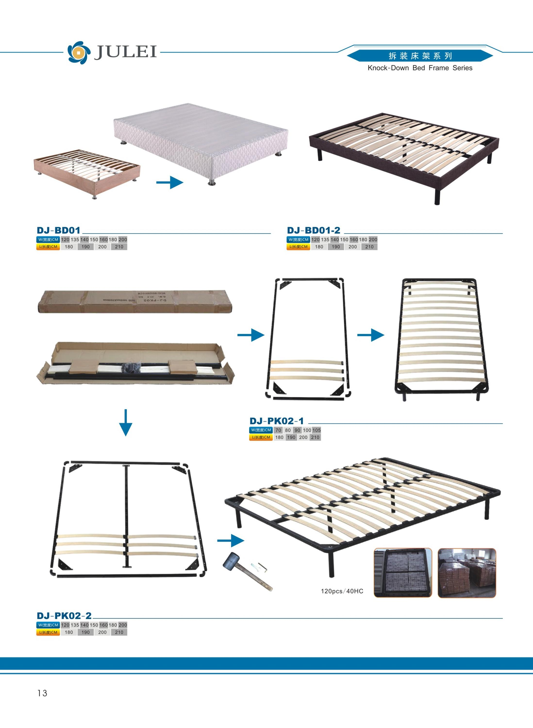 easy assemble knock-down slatted bed frame DJ-PK05