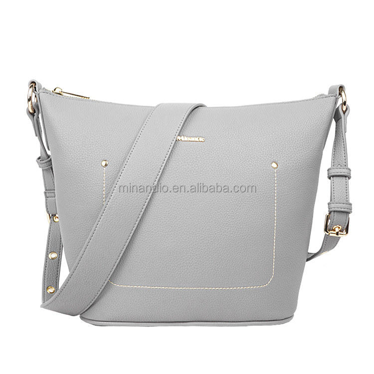 hot hot sale high quality brand design ladies grain leather bucket handbag