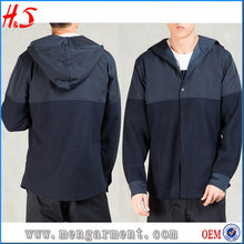 Popular Long Sleeve Hooded Cotton Shirt Jacket Of Men Clothing Navy