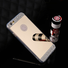 Bling Diamond Mirror Case Cover For iphone 7 7 Plus 6 6s Plus 5 5s SE Cover Acrylic Rhinestone Phone Cases Shell