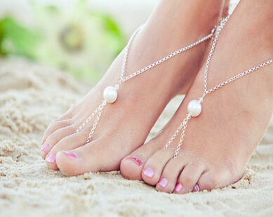 Fashion Barefoot Sandal Bridal Beach big Pearl Foot Jewelry Anklet Chain Bracelet