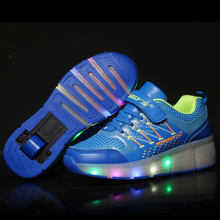 2016 led flash roller skate shoes light sport sneakers with wheels for kids fashion retractable roller shoes skate LED light