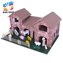 2016 wholesale children wooden toy farm set,high quality baby wooden toy farm set,hot sale kids wooden toy farm set W06A123
