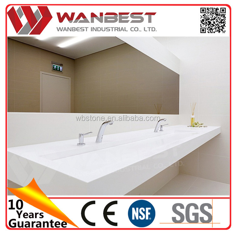 Hotel/home/restaurant used Double solid surface bathroom Sinks white artificial stone bath basin