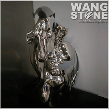 Abstract Life size Man and Horse Stainless Steel Statue