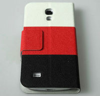 Nice Three Tone Leather Phone Cover for Samsung Galaxy S4 Mini i9190, face with window design