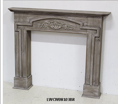French Country Manmade Reclaimed Wood Wall Decorative Fireplace