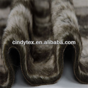 15mm tip-dye 2-tone chocolate white plushed short hair acrylic polyester imitation beaver fake fur fabric