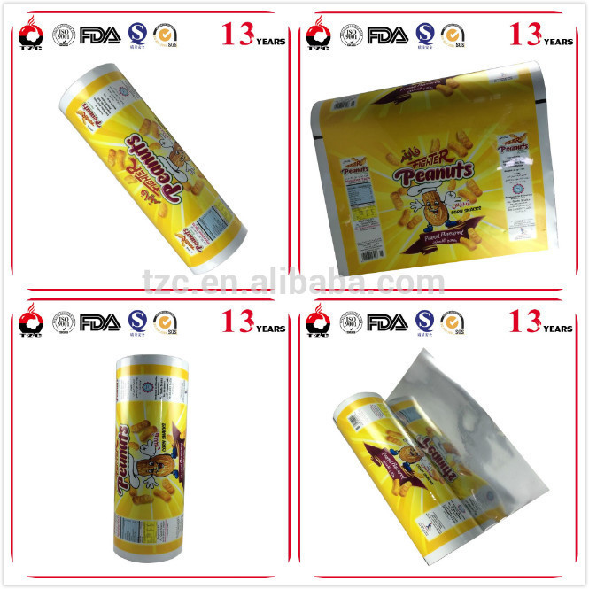 Printing plastic roll film flexible packaging for coffee bag