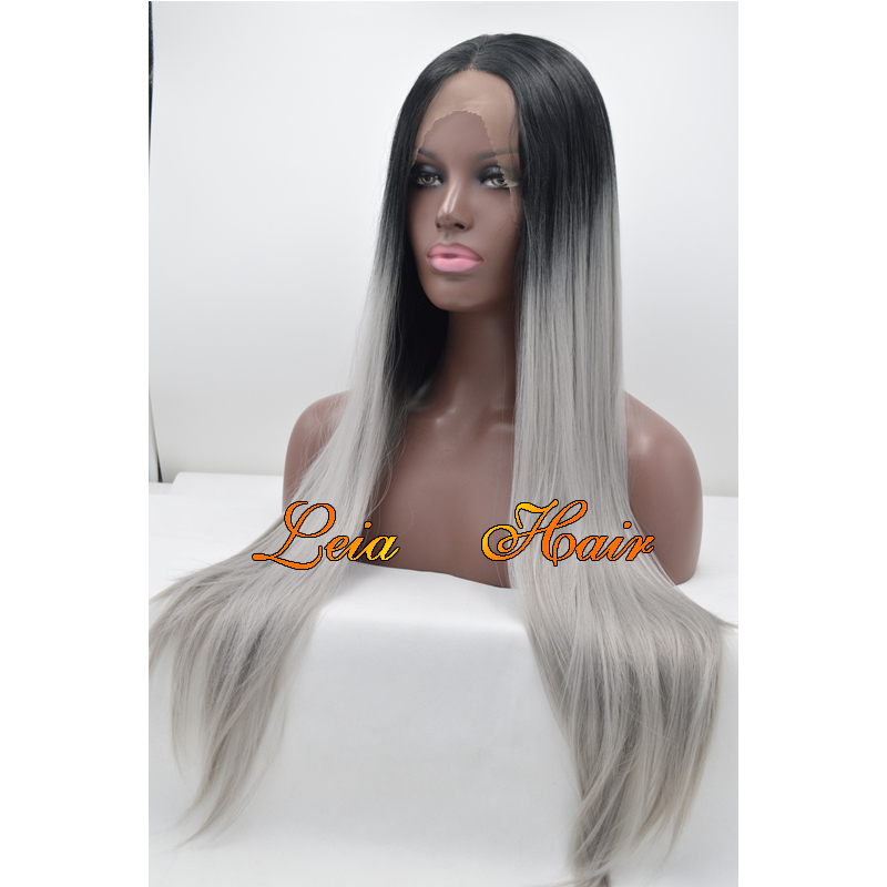 Grey Ombre Wig Straight Synthetic Lace Front Wig Heat Resistant Cheap Kanekalon Hair Glueless Natural Ombre Black To Grey Wigs