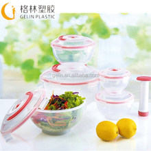 5pcs plastic vacuum food storage canister container set with pump