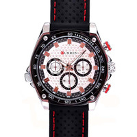 Cool Sport Chronograph silicone watch Multiple Time Zone, Water Resistant curren Mens relogis