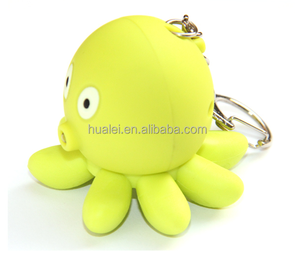 Octopus Sound LED Animal Keychain Light Toy