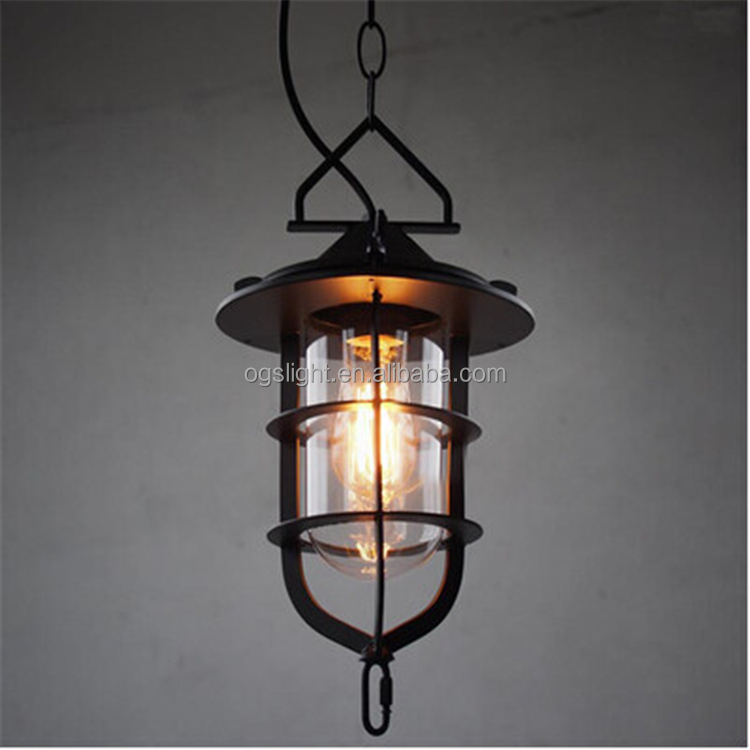 Antique Bird Glass Inside Cage Lamp Ventage Retro Painted Iron Cage Pendant Light for Bathroom