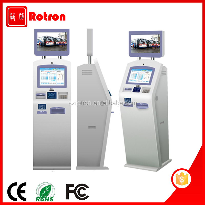 Dual screen Self service free standing car washing payment Kiosk with Webcam