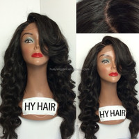 Free Shipping 8A Grade Hand Tied Natural Black Loose Wave Full Lace Wig With Bang