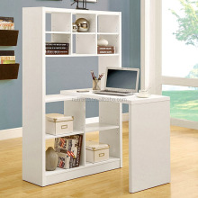 Wooden modern cube bookcase with study table design