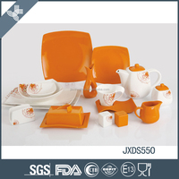 Stylish design beauty orange solid color dinner set ceramic modern square dinnerware