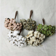 Hot sell decorative colored cotton ball boll cotton branch cotton stem