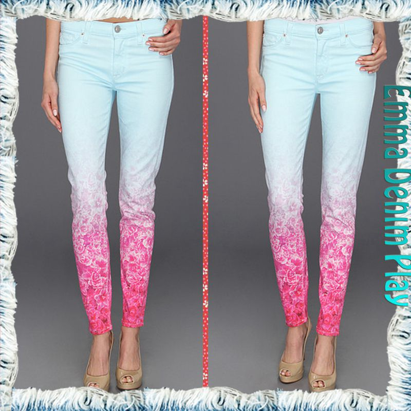 Contrasted Faded Bright Blue Red Floral Printed Stylish Women Super Skinny Disco Jeans