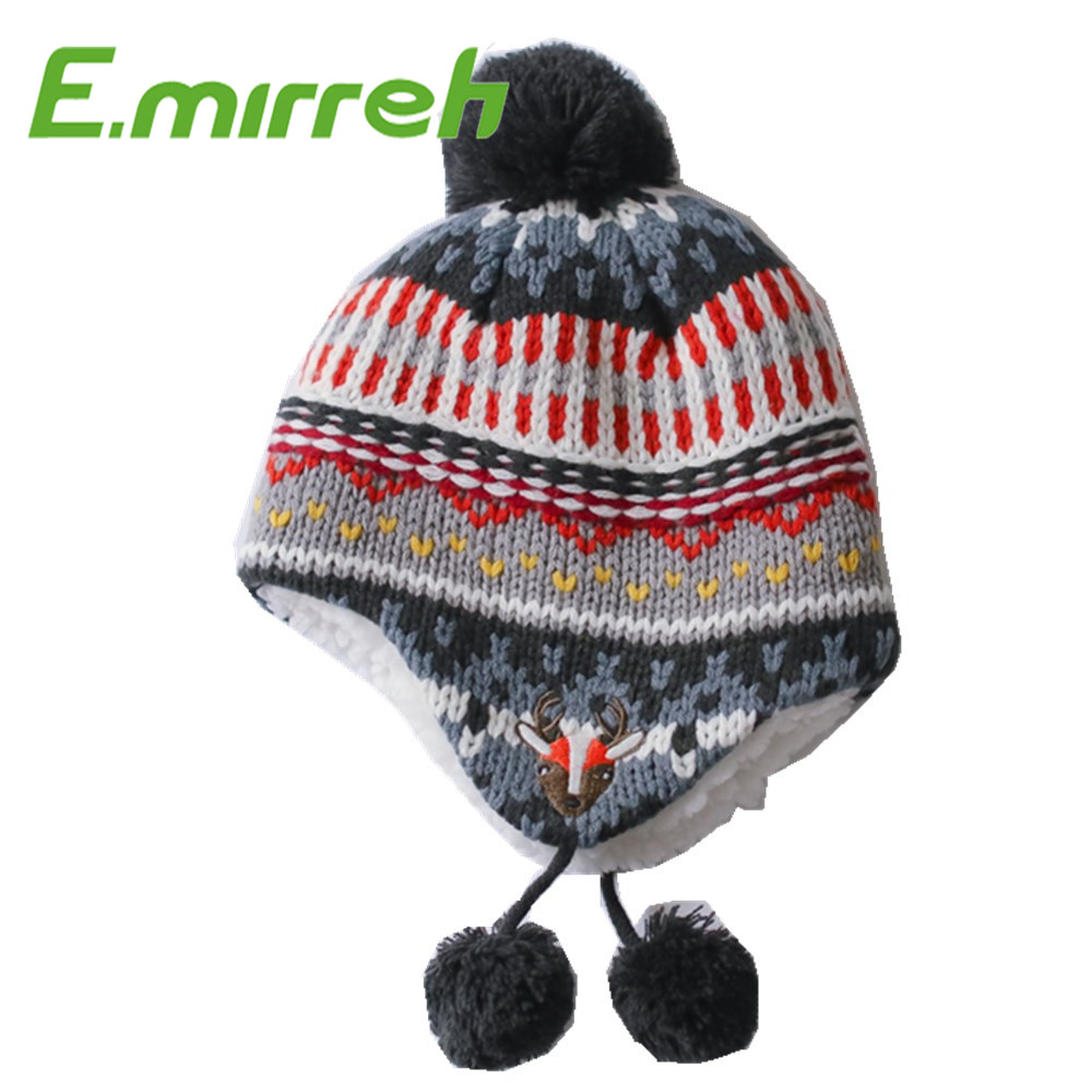 New fashion custom kids multicolor thick jacquard knit winter hat children ear cap