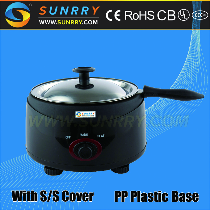 Commercial electric chocolate melting pot with PP plastic base chocolate coating pan (SUNRRY SY-CL1B)
