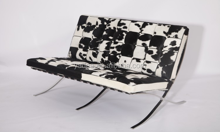 Living room ergonomic original barcelona chair sofa in cowhide