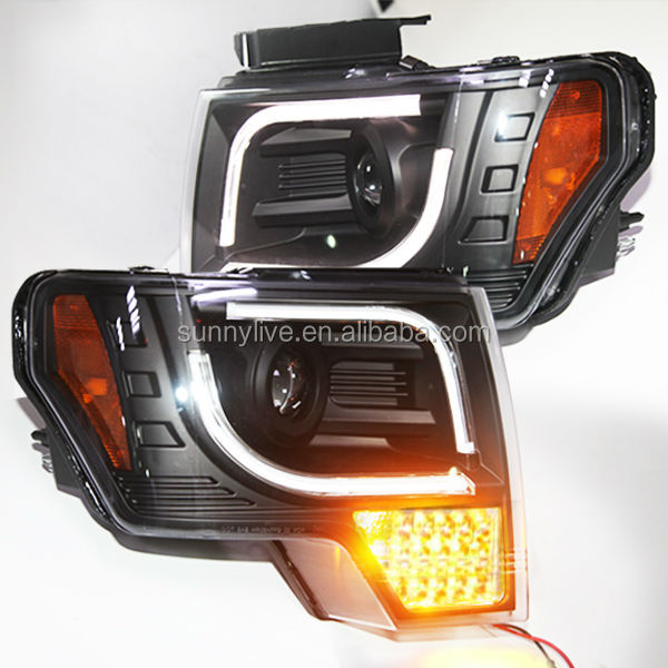 Full LED turn signal light For FORD F150 Raptor LED Strip Head Lamp 2008-12 Year Black V2