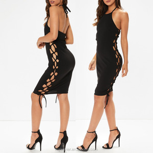 Sexy black lace up bodycon dress featuring halterneck details design for ladies clothing