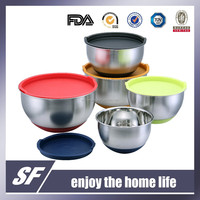 Stainless Steel Mixing Bowl/Salad Bowl With Silicon Base And PE Lid