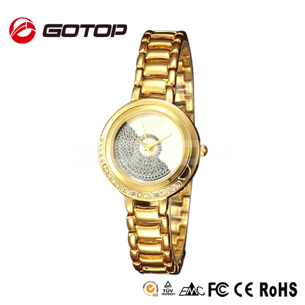 Diamond decorated gold plated luxury omax style ladies wrist watch