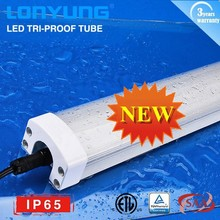 Latest parking lot lighting ETL DLC 900mm /1200mm tri proof led batten, tri-proof light