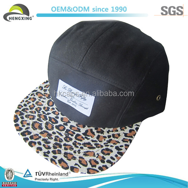 Good Quality Woven Label Fresh Black Waxed Cotton 5 Panel Hat