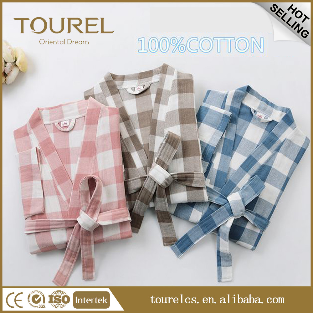 Hot sell! Velour 100% colorful Cotton Bathrobe With Luxury Embroidery For Hotel