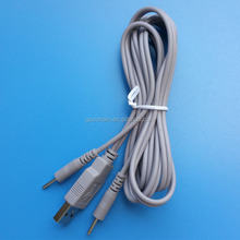 Medical 2.0mm electrode pin to USB A male cable for TENS EMS Machine