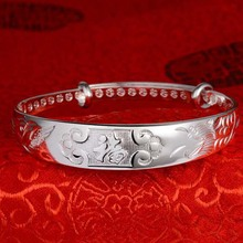 YFY033 Yiwu Huilin Jewelry custom engravable wide plain Silver Cuff bracelet for Mens or Women lock druzy bangle