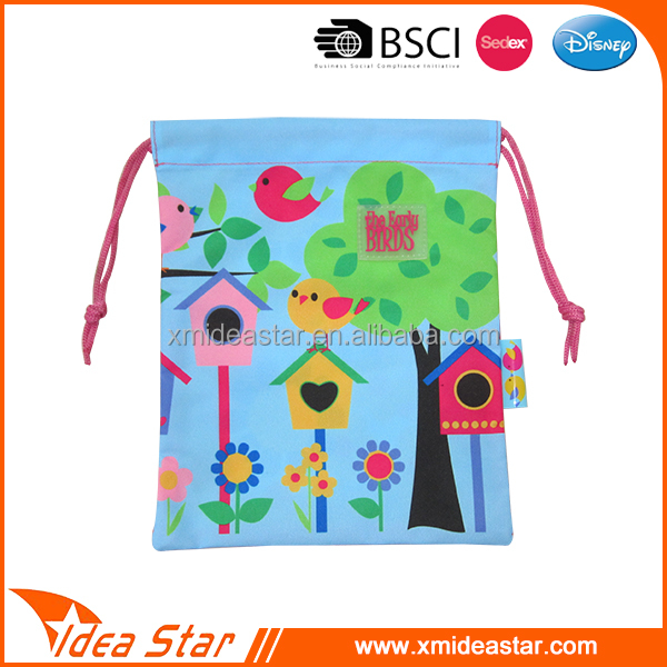 Wholesale polyester cute shoe bag drawstring young girls school bag for pencils