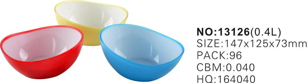 Wholesale BPA Free Plastic PS Bicolor Fruit Salad Mixing Rice Eating Bowl