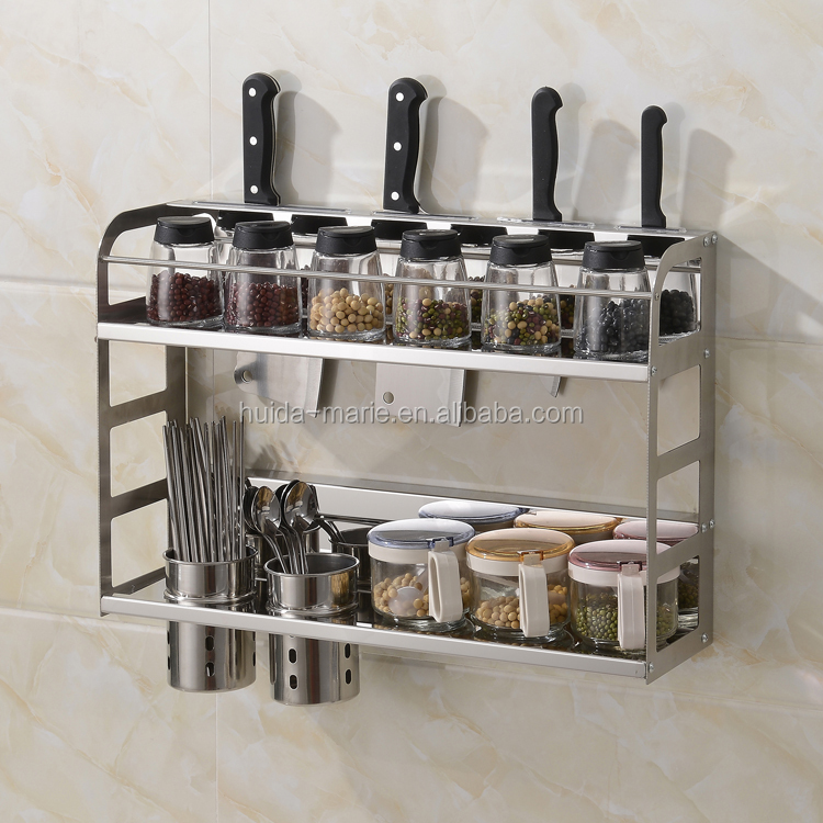3 in 1 double-decker kitchen baskets for knife, cutlery and spice bottle holder