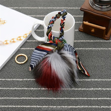 Multicolor New desigh Fake fox Fur Pom poms bag charms