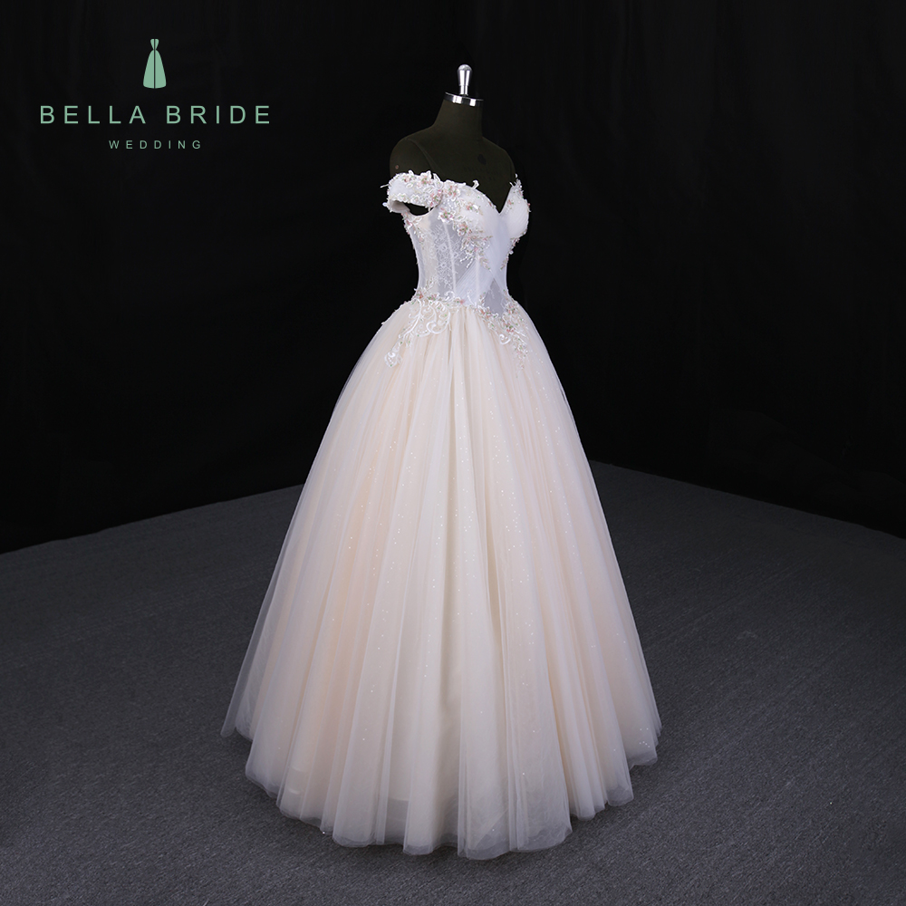 Real Champagne Wedding Dresses Bridal Ball Gowns Off Shoulder Ankle ...