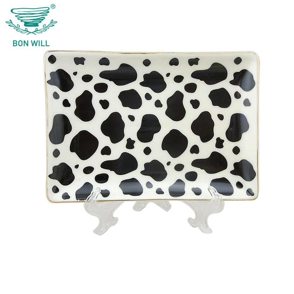 Wholesale rectangle black spot decorative ceramic dishes