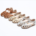 Wholesale Manufacturers Fashionable Summer Cow Leather Girl Flat Sandals Kid Shoes