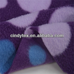 150d drapery brushed 100% polyester anti pilling dot print thick polar fleece fabric